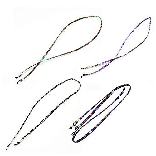 4 STÜCKE Mode Baumwolle Geflochtenen Seil Sonnenbrille Kette Brillen Lanyard Retainer Strap für Mann Frau Cildren Lesen Wandern Laufen Im Freien (Color : -)