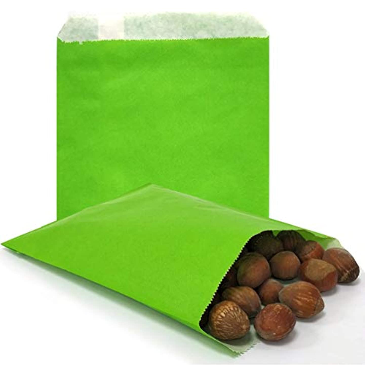 AZOWA 100 CT Small Paper Treat Sacks Green 5 x 7 Inches Candy Buffet Bags for Party