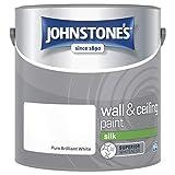 Johnstones No Ordinary Paint Water Based Interior Vinyl Silk Emulsion Brilliant White 2.5 Litre