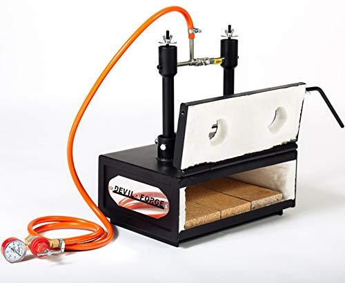 Forja de gas propano – DFHS2+1D/3.6'   con 2 quemadores DFP (80,000 BTU) con válvulas de bola de gas (Utilice 1/2) y 1 puerta   Las herradura, de cuchillos fabricante herreros para el trabajo de forja