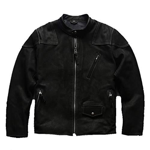 Chaqueta Cuero para Hombre Moto Abrigo De Motocicleta PU Vintage Negocio Abarcadero Primavera Abrigo Suave Casual Outcoat Racer Outwear