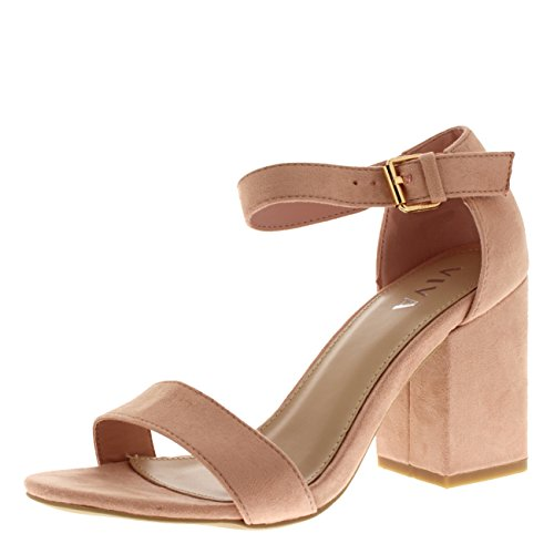 Mujer Ancho Medio Bloquear el Talón Ante Correa de Tobillo Casual Zapato Sandalias - Rosado KL0301P 4UK/37