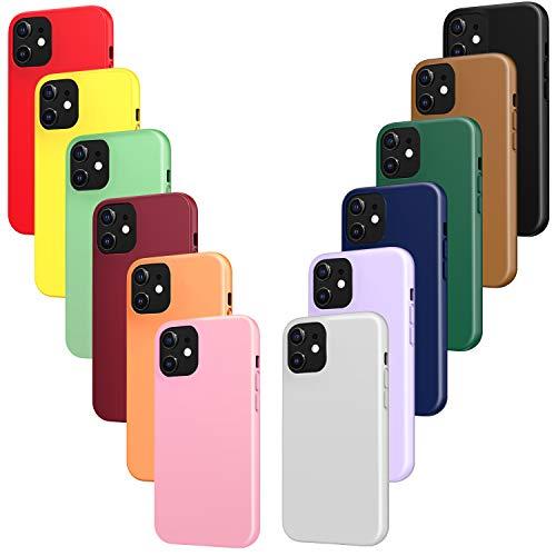 ivoler 12x Funda para iPhone 12 Mini, Fina Carcasa Silicona TPU Protector Flexible Funda (Negro, Gris, Azul, Verde Oscuro, Verde, Morado, Rosa, Rojo Vino, Rojo, Amarillo, Naranja, Marrón)