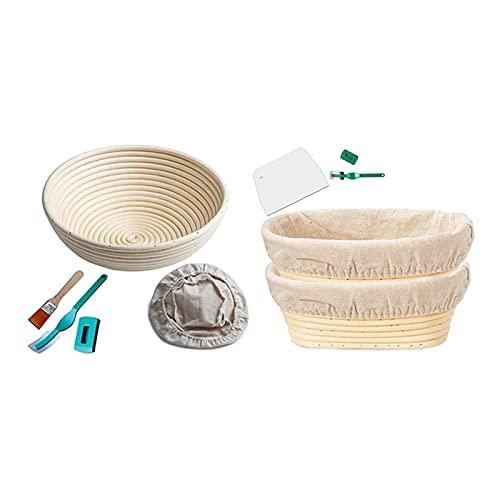 JUSTHUI Cesta de Pruebas por Pan César, fermentador Redondo de 10 Pulgadas con una Canasta Artesanal de Pan fermadero, raspador de Masa (Color : White)
