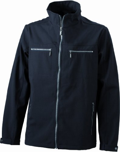 James & Nicholson Herren Jacke Softshelljacke Men's Tailored Softshell Jacket schwarz (black) Small