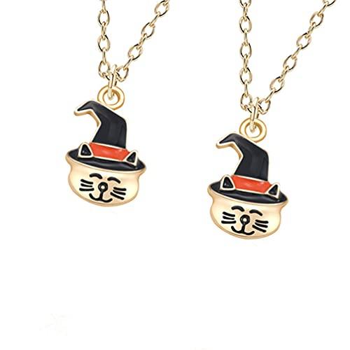 IMIKEYA 2 Piezas de Collar de Gato Brujo de Halloween Collar de Metal Esmaltado con Colgante de Gato para Joyas de Fiesta de Halloween