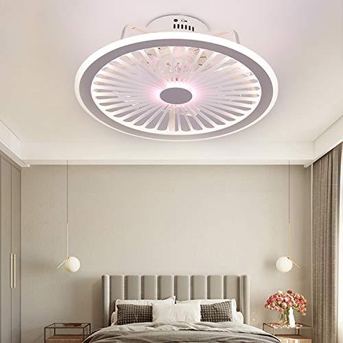 Ventilador de Techo con Luz, LED Ventilador Lámpara con Control Remoto y APP Ajustable, Velocidad de 3 Viento, Lámpara de Techo Regulable Invisible para Sala de Estar Iluminación de Dormitorio