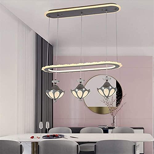 FGVBC Candelabro LED Moderno para Comedor, candelabro de acrílico LED Simple nórdico Ligero Consiste en 1 candelabro de Anillo y 3 Colgantes atenuación Tricolor para Restaurante, Cocina, Bar, E, 220V