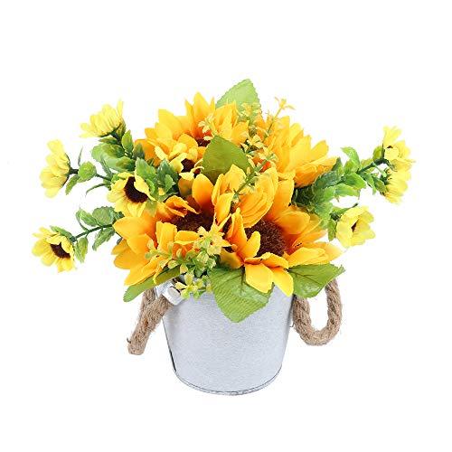 NAHUAA Kunststoffblumen Sonnenblumen Künstliche Blumen im Topf Deko Seidenblumen für Tischdeko Hochzeit Wohnzimmer Balkon Geschenk Garten Topf Blumenkasten