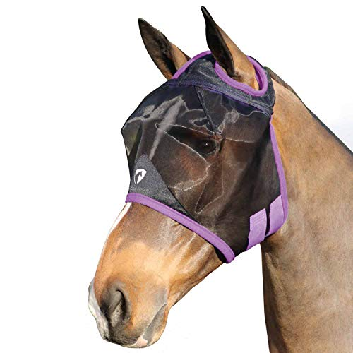 Y-H Hy Mesh Halfmasker zonder oren Vliegmasker, Pony, Zwarte Druif Royal