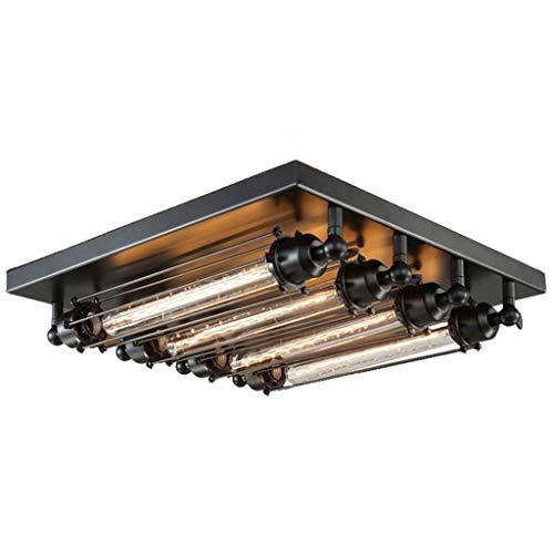 GPZ-iluminación de techo Lámpara de techo, lámpara de techo LED de hierro forjado, estilo retro americano retro, lámpara de techo cuadrada de hierro forjado creativo Lámpara de pared cuadrada Lámpara