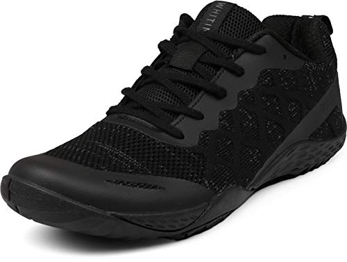 WHITIN Women's Low Zero Drop Shoes Wide Toe Box for Female Lady Camping Size 7.5 8 Fitness Gym Workout Sneaker Tennis Minimalist Barefoot Trail Running Comfortable Lightweight Sand Black 38