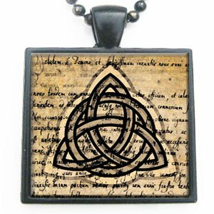 Celtic Knot Black and Gold Glass Tile Pendant Necklace with Black Chain