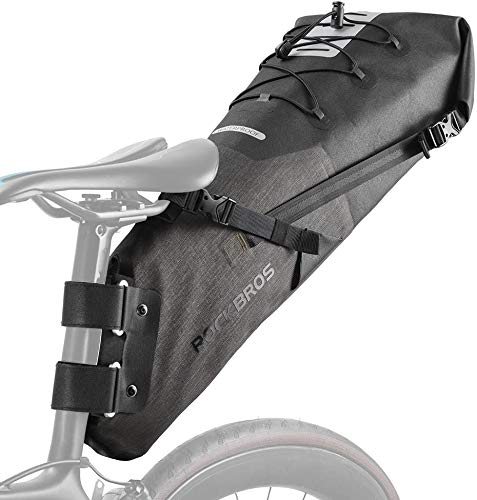 ROCKBROS(ロックブロス)サドルバッグ 大容量 シートバッグ ロードバイク 防水 TPU加工 大型 10l 収納力抜群 反射テープ サイクリング(ブラウン)