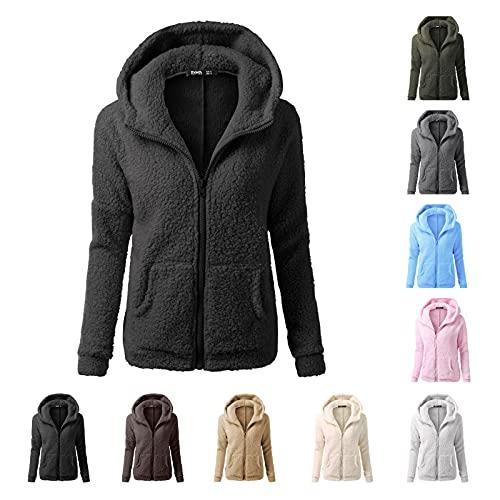 Chaqueta con capucha para mujer, de gran tamaño, vintage, de invierno, monocolor, con cremallera, de forro polar, con bolsillos, parka, chaqueta deportiva para exterior, gris claro, S