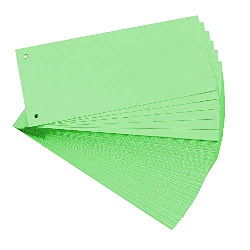 Exacompta 13445B 100er Pack Karton-Trennstreifen. 10,5 x 24 cm grün. Für eine übersichtliche Anblage Ihrer Dokumente. Trennlaschen Trennblätter Ordner Register Blauer Engel