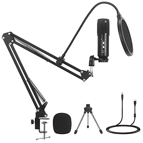 YOLIYOQU USB Mikrofon Set, 192kHz/24bit PC Mikrofon, Professionell Microphone mit Mikrofonständer Boom-Arm und Shock-Mount, Mikrophon für Recorder, Streaming, Broadcast, YouTube, Podcast, Gaming (C)