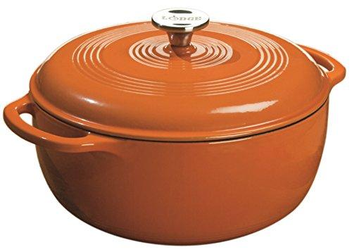 Lodge Color Enameled Cast Iron Dutch Oven, Pumpkin, 6-Quart