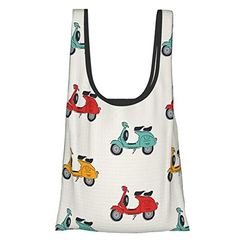 Vespa Reusable Shopping Bags Grocery Tote Bags Foldable Waterproof Reusable Gift Bags, Washable, Durable and Lightweight