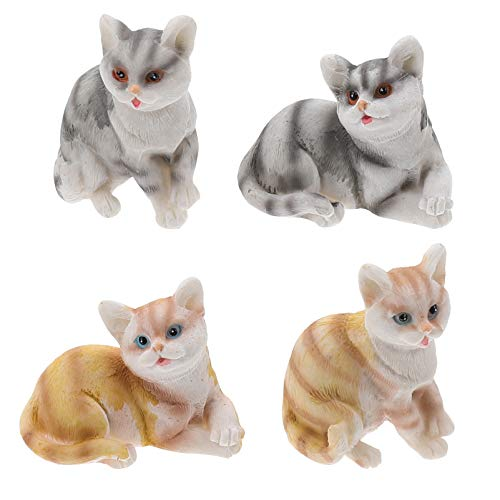 Cabilock 4 Pcs Cute Miniature Cat Figure Animal Cat Characters Toys Cake Topper for Home Fairy Garden Micro Landscape Decoration Mixed Color