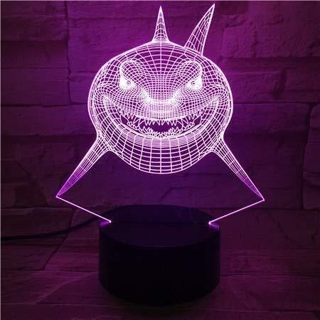 MMWYC Luz Nocturna Buscando a Nemo El tiburón Bruce 3D Visual luz Multicolor LED alterna Decorativa de la Noche de luz for Infantiles de los niños