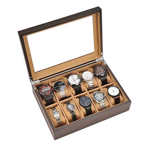 GFDFD Caja de Almacenamiento - Caja de Reloj de 10 bits Caja de Almacenamiento Joyería de Madera Pantalla de Inicio Caja de Madera Caja de Reloj Simple