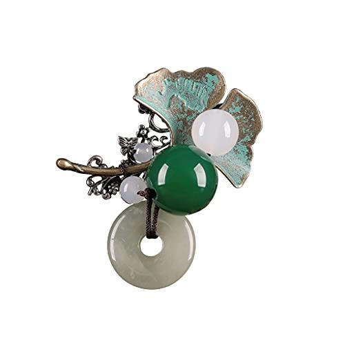 Broches Y Pines para Damas Vintage, Estilo Chino Green Agate Beads Broche Joyería Ropa Accesorios, para Mujeres Boda Cumpleaños (Color : Green, tamaño : 4.6×3.3cm)