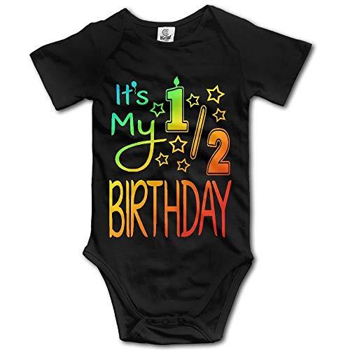 WlQshop - Tutina a maniche corte con scritta 'It's My Half Birthday', 100% cotone Nero  0 mesi