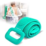 horhorup Silicone Body Scrubber for Shower, 30 inch Extra Long Exfoliating Bath Body Brush with Double Side Silicone, Deep Clean & Invigorate Skin, Long Handle Back Scrubber for Men, Women (Green)