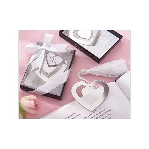 Vasara Lote de 20 Marcapáginas Corazón Puntos de Libro - Detalles Originales Invitados de Bodas, Regalos Comuniones y Recuerdos para Cumpleaños Infantiles