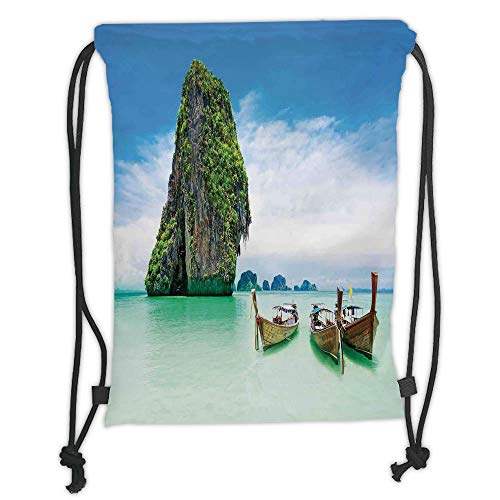 LULUZXOA Gym Bag Printed Drawstring Sack Backpacks Bags,Ocean Island Decor,Limestone Rock in The Sea with Boats Tranquil Heaven Coast with Horizon Off Nature Photo,Multi Soft Satin