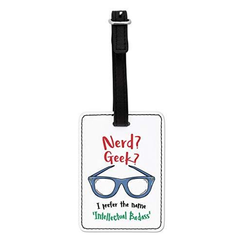 Gift Base Nerd Geek Intellectual Badass Visual Luggage Tag with Black Strap