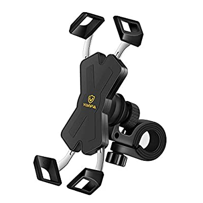 visnfa New Bike Phone Mount with Stainless Steel Clamp Arms Anti Shake and Stable 360° Rotation Bike Accessories/Bike Phone Holder for Any Smartphones GPS Other Devices Between 4 and 7 inches by visnfa