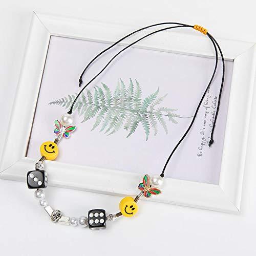Collar de hombreHombres Dados Calavera Perla Amarillo Sonriente Collar De Mariposa Multicolor Pulsera De Hip Hop Collar De Cuerda