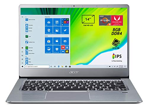 Acer Swift 3 SF314-41-R2XF Notebook con Processore AMD Ryzen 5 3500U, RAM da 8 GB DDR4, 512GB PCIe NVMe SSD, Display 14' FHD IPS LED LCD, Scheda Grafica AMD Radeon Vega 8, Windows 10 Home, Silver