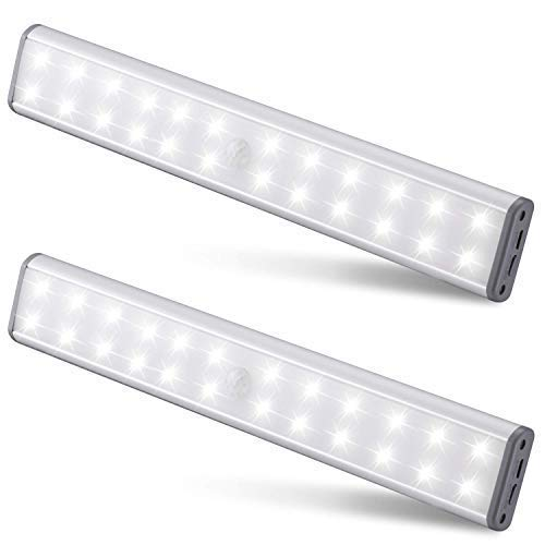 Under-Cabinet Lighting (2 Pack) 3 Colour Temperature Switchable Closet Light (Warm White Natural) by 24 Super Bright LED Lights. Ideal for Closet, Under Cabinet or Anywhere Dark