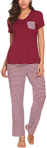Pijama Mujer De 2 Piezas con Manga Corta Pantalon Largo Ropa De Dormir Algodón Nightwear Elegante Camisetas + Pantalones (Vino Rojo, M)