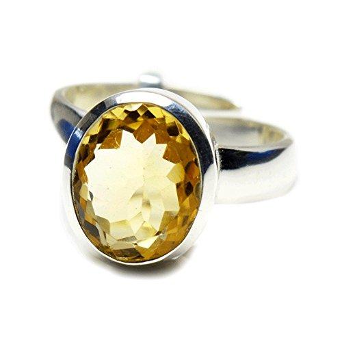jewelryonclick 3Karat Citrin natur Sterling Silber verstellbar schlicht für Herren Ring Größe UK P–T 1/2