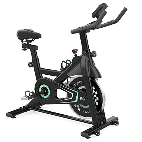 REHOOPEX Exercise Bike - Silent Belt Drive Stationary Bike, Indoor Cycling Bike Stationary with Comfortable Seat Cushion and LCD Monitor for Home Workout