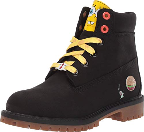 "Timberland Kids 6"" Premium Boot with Lined Tongue - Spongebob (Big Kid) Black Nubuck 4 Big Kid M"