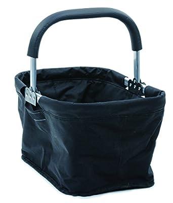 RSVP International Collapsible Market Basket, Black   Aluminum Frame   Polyester Fabric   Large Zippered Compartmet   Space-Saving Storage, One Size