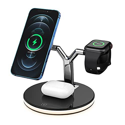 Cargador Inalámbrico De 15 Vatios, Qi Certified 3 En 1 Estación De Carga Vertical Rápida Compatible Con Iphone 12/12 Pro / 12 Pro Max Soporte De Carga Para Apple Watch