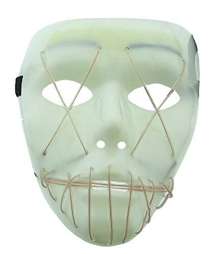 Wit licht - wit masker - led-verlichting - volwassenen - ogen - mond - genaaid - monster - vermomming - halloween - carnaval - feest - accessoires horror zombie