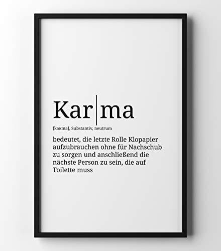 Papierschmiede Definition: Karma | DIN A3 fertig im Rahmen | Poster mit Worterklärungen wie im Duden für Deine Wanddeko | im schwarzen Holzrahmen