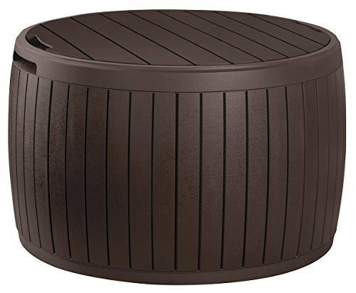 Keter Circa 37 Gallon Round Deck Box, Patio Table for Outdoor Cushion...