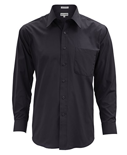 18 38-39 Lucasini 314 Black Regular Fit Dress Shirt