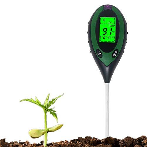 KETOTEK Medidor Tierra para pH Humedad Temperatura Luz Solar 4 en 1 Digital pH Medidor Humedad del Suelo para Plantas Jardín Césped Exterior e Interior