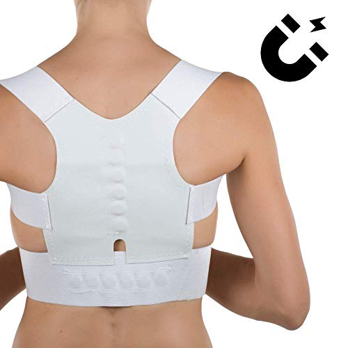 Corrector de postura en espalda y hombros para hombre y mujer. Faja chaleco para el dolor de espalda cómodo y ajustable (Blanco, M)