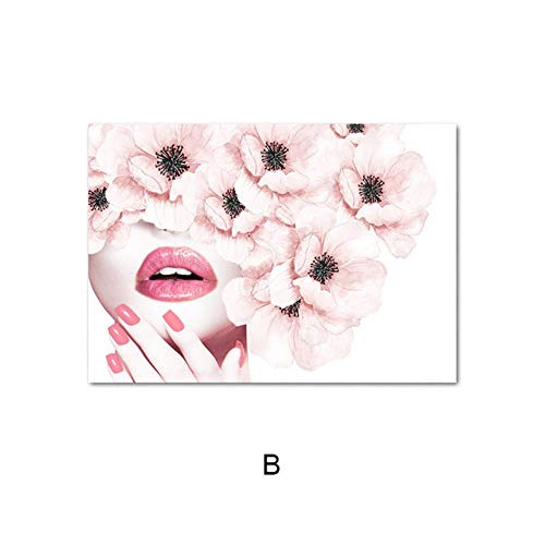 Roze bloem parfum mode poster wimper lippen make print canvas kunst schilderij muur foto moderne meisje kamer huisdecoratie, foto B, A3 30x42cm geen frame