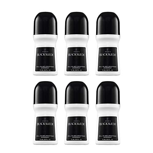 Avon Deododorant Men's Roll-on Black Suede, Anti-Whitening, Non-Staining, Quick-Drying Formula, 2.6oz/75ml. Pack of 6